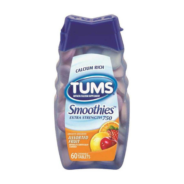 Tums Antacid Smoothies Chewables Assorted Fruit 60 ct