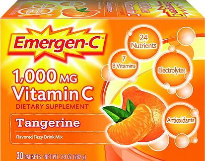 Emergen-C 1000mg Vitamin C Dietary Supplement Fizzy Drink Mix Packets Tangerine 30 ct