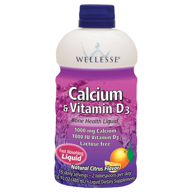 Wellesse Calcium & Vitamin D3 Bone Health Citrus Liquid 16 oz
