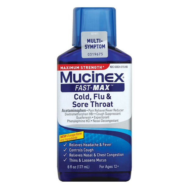 Mucinex Fast-Max Cough, Cold & Flu & Sore Throat Liquid 6 oz