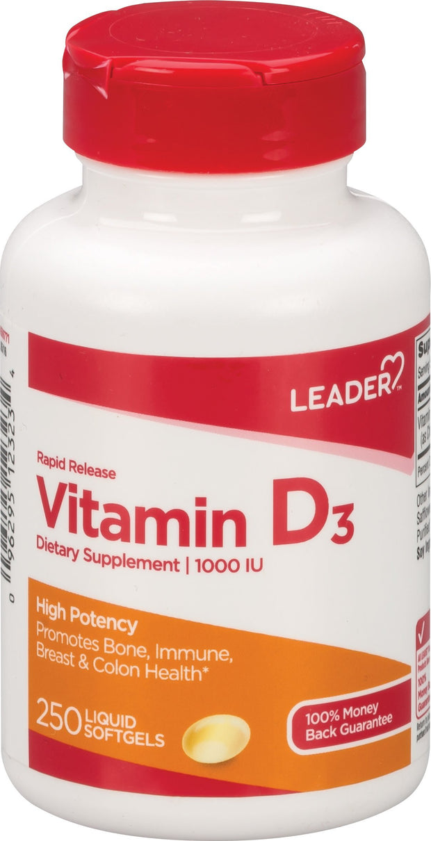 LEADER Vitamin D 1000IU Softgels 250 ct