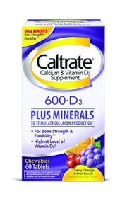 Caltrate Calcium Supplement Bone Health 600 + D3 Assorted Fruit Chewable Tablets