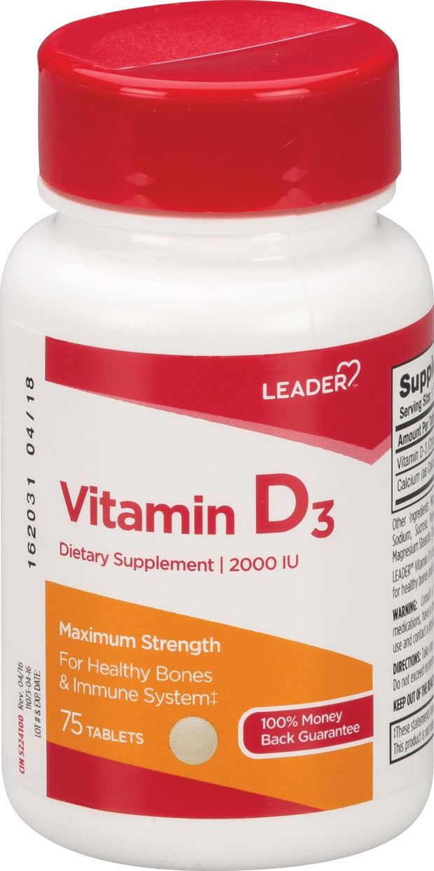 LEADER Vitamin D3 2000IU Tablets 75 ct