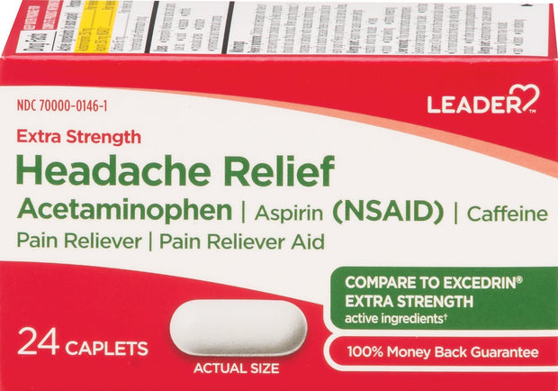 LEADER Headache Relief Extra Strength Caplets 24 ct