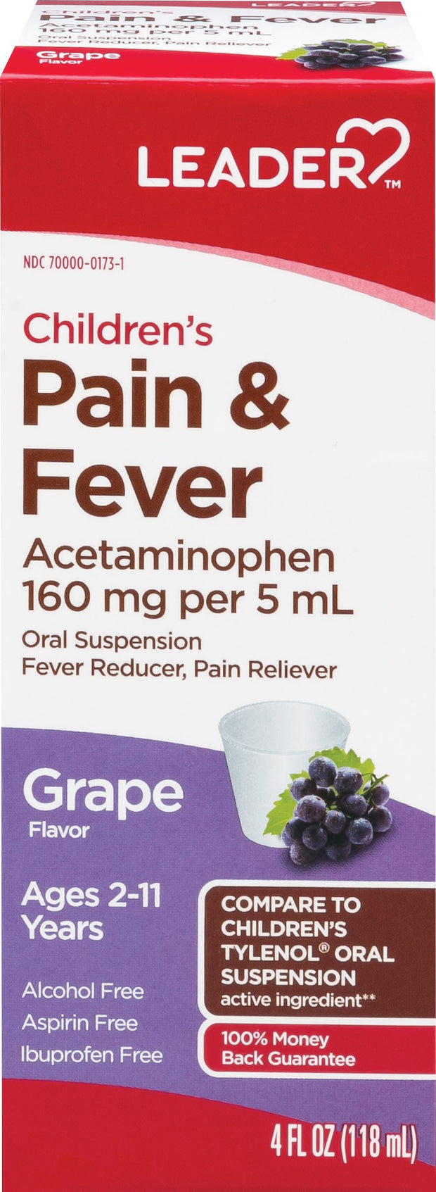LEADER Children's Pain + Fever Grape Oral Suspension 4 oz