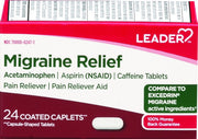 LEADER Migraine Relief Pain Reliever Acetaminophen & Caffeine Coated Caplets