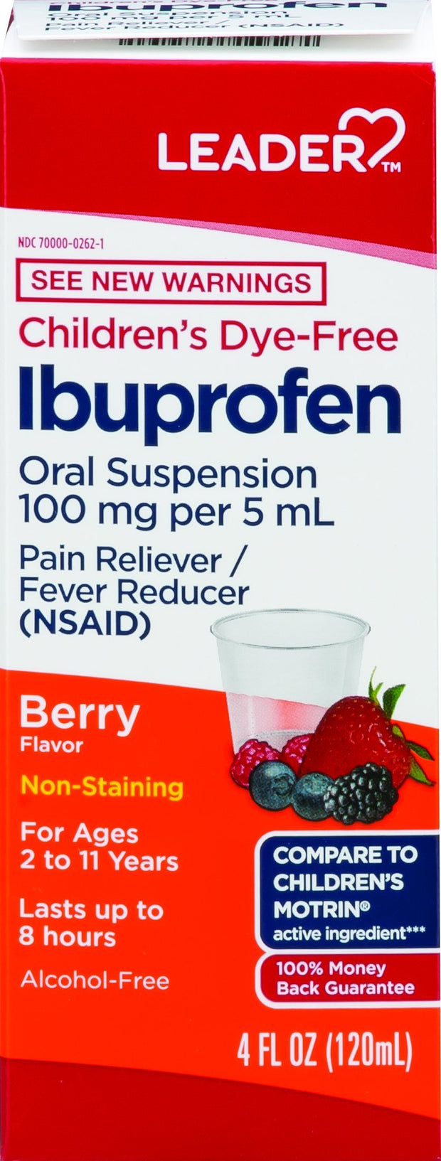 LEADER Children's Ibuprofen Pain Reliever/Fever Reducer Dye Free Berry Liquid 4 oz