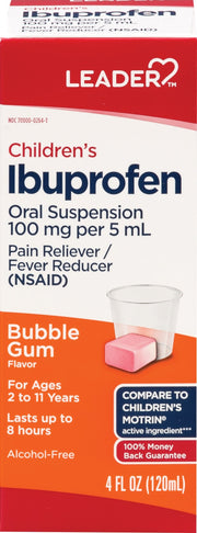 LEADER Children's Ibuprofen Pain Reliever/Fever Reducer Bubblegum Liquid 4 oz