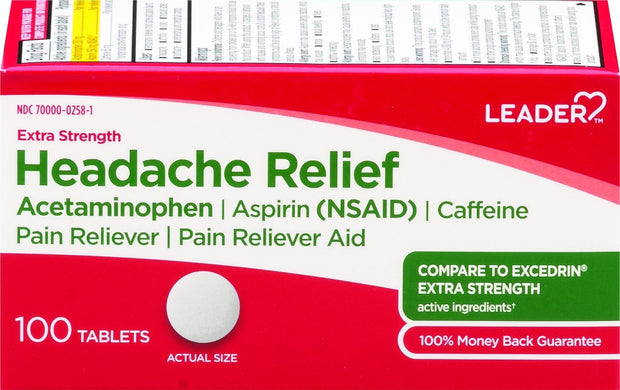 LEADER Headache Relief Extra Strength Tablets 100 ct