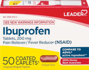 LEADER Ibuprofen Pain Reliever/Fever Reducer 200mg Coated Caplets
