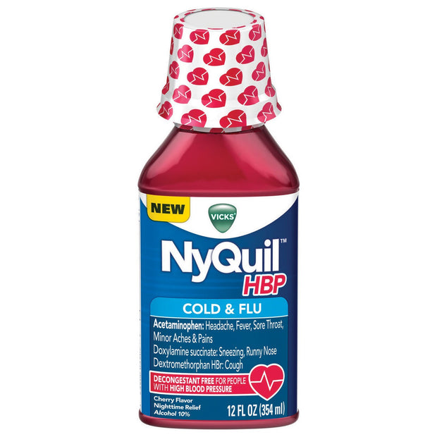 Vicks NyQuil HBP Cold & Flu Cherry Liquid 12 oz