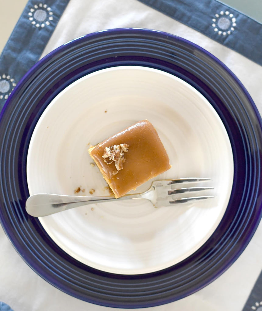 Salted Caramel Pumpkin Cheesecake Bars with Manuela