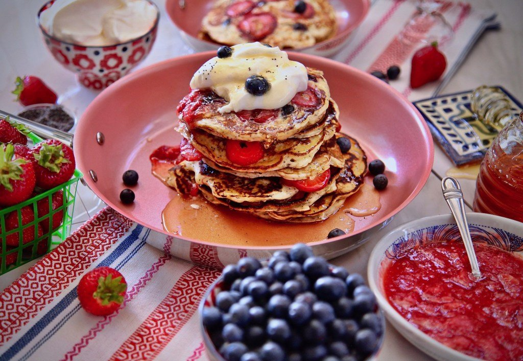 Berry Poppy Seed Pancakes with Presley's Pantry