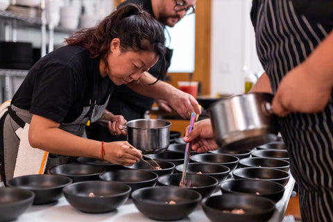 DTLA Dinner Club with Chef Kat Hu of Hock + Hoof, featuring Tuxton Home Zion Matte Black Bowls