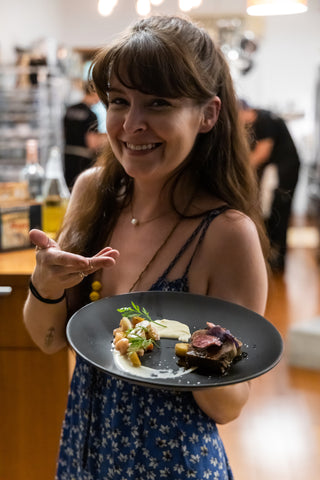 DTLA Dinner Club with Chef Kat Hu of Hock + Hoof, braised Beef Tongue plated on Tuxton Home Zion Dinner Plates