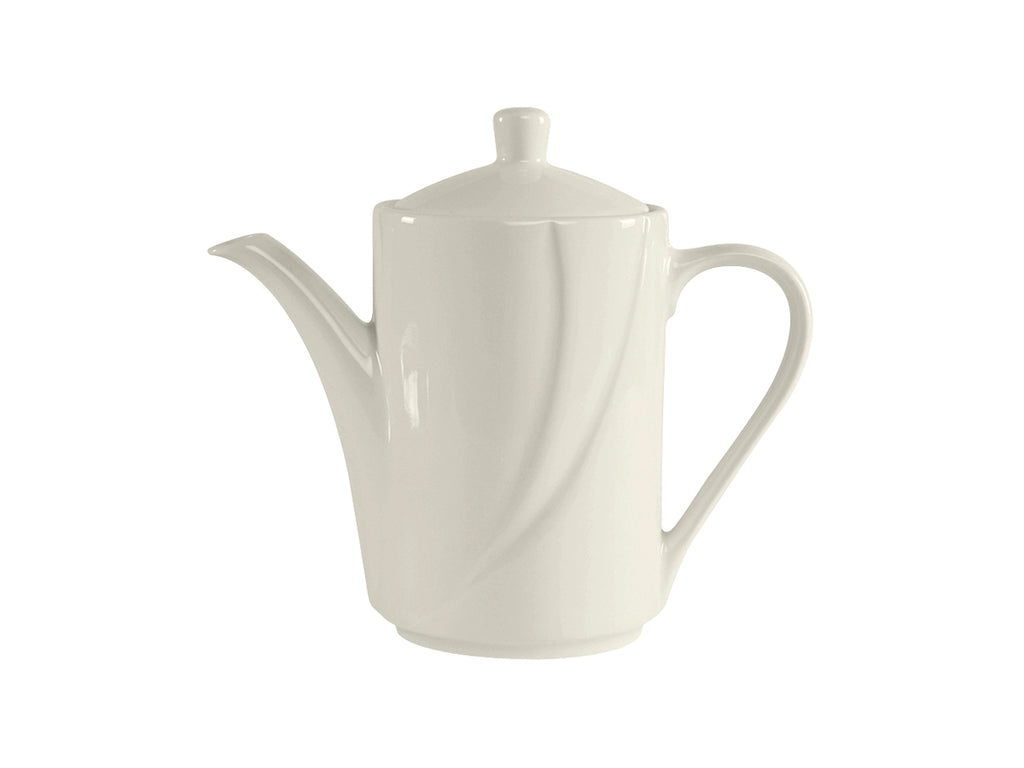 San Marino AlumaTux Coffee/Tea Pot w/Lid 21oz - Pearl White Embossed (Pack of 6)