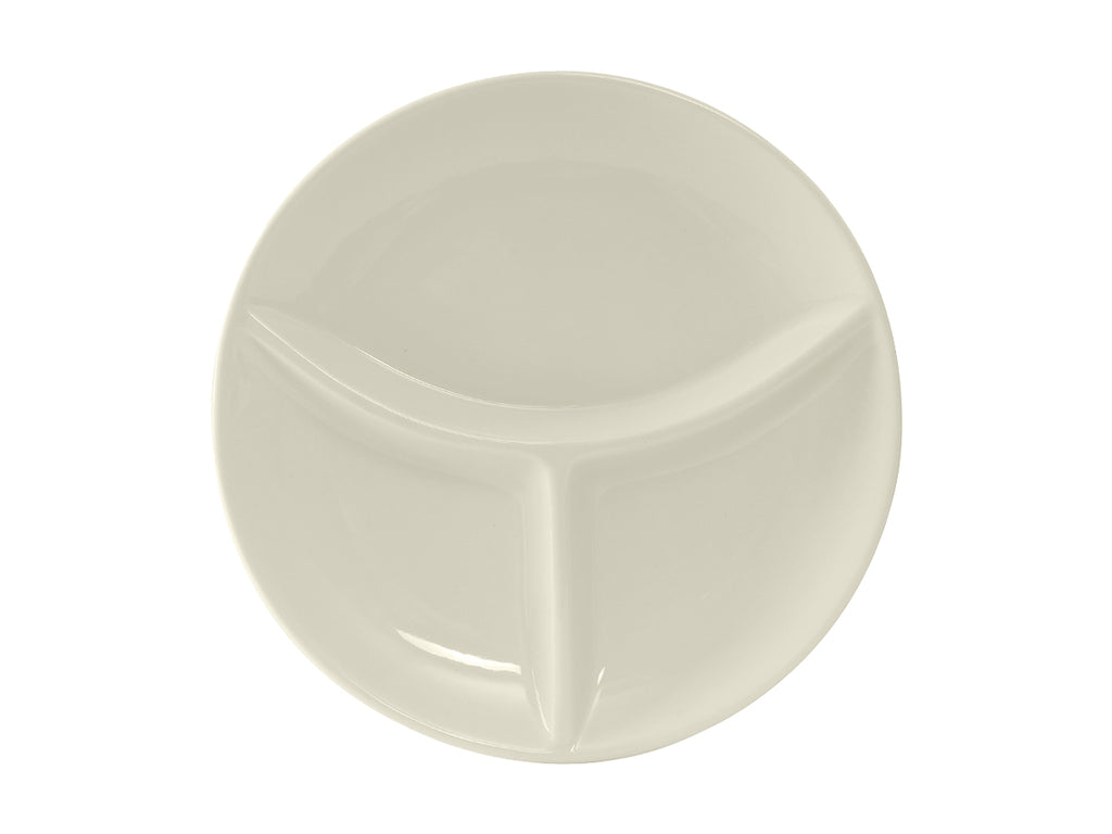 "TuxCare 3 Compartment Plate 9"" - Eggshell White Coupe (Pack of 12)"