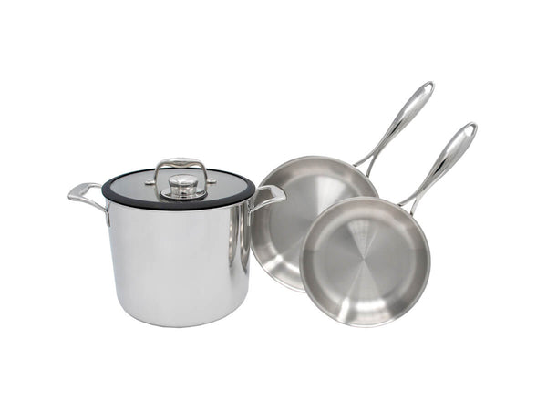 "Tuxton Home Cookware - Chef Series The Ultimate Sous Vide Kit (includes one Sous Vide Pot, one 8"" Duratux Tri-Ply Fry Pan, and one 10"" Duratux Tri-Ply Frypan)"