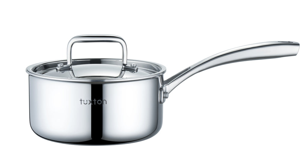 316 Series - 2.4QT Surgical Stainless Steel Triply Saucepan with BONUS GIFT: Silicone Mitt