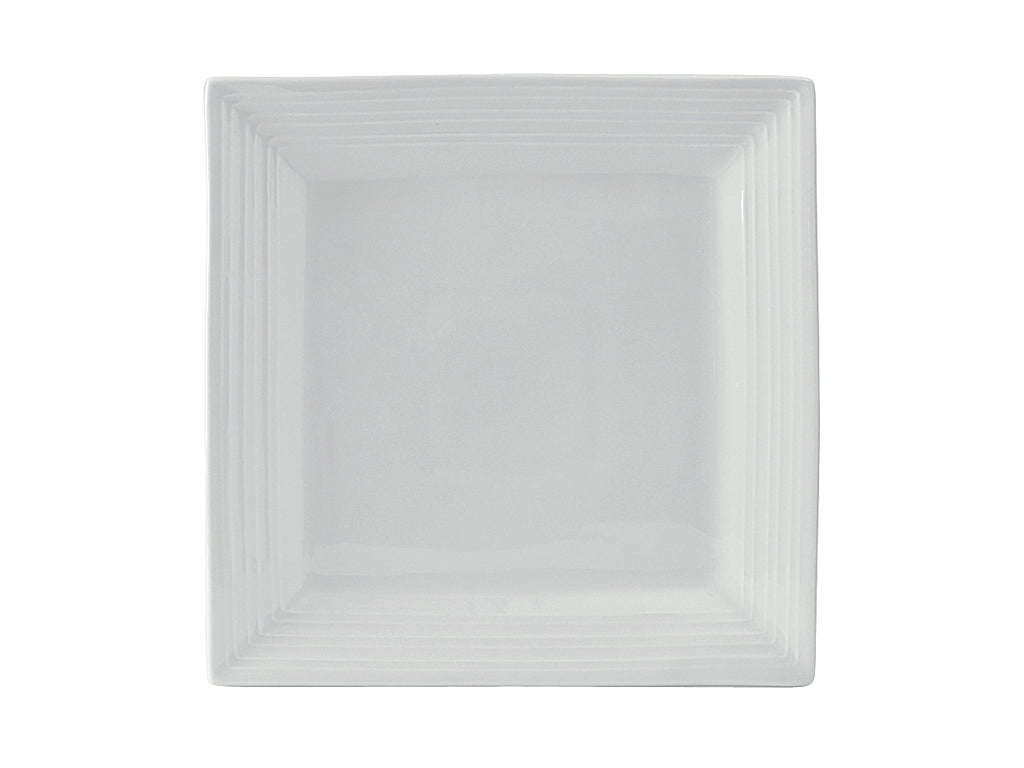 "Pacifica Square Plate 8-1/2"" - Porcelain White Embossed (Pack of 12)"