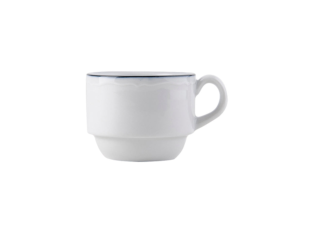 Charleston Stackable Espresso Cup 3oz - Por.Wh.Scalloped Blue Band (Pack of 36)