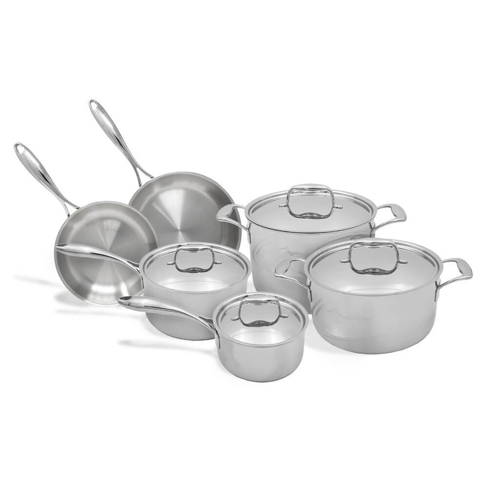 Tuxton Home Cookware - Duratux Stainless Steel Tri-Ply 10-Piece Cookware Set