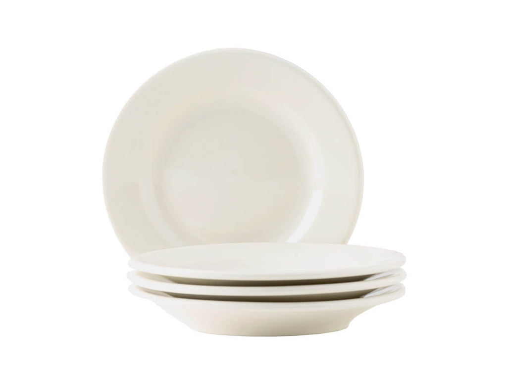 "Tuxton Home Dinnerware - Reno Wide Rim Salad Plate 7"" - Set of 4 (American White/Vintage Cream)"