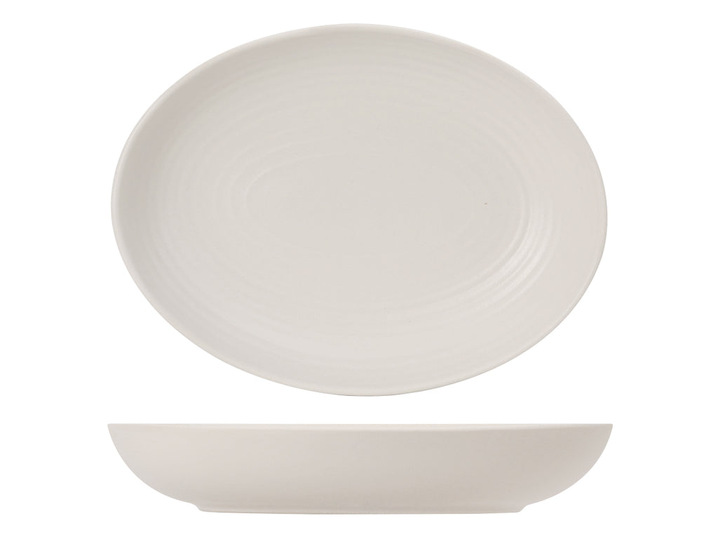 Zion Oval Bowl 35oz - Matte White Embossed (Pack of 12)