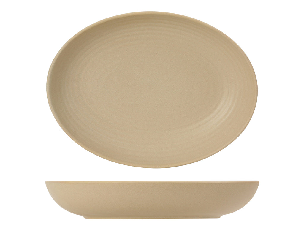 Zion Oval Bowl 35oz - Matte Beige Embossed (Pack of 12)