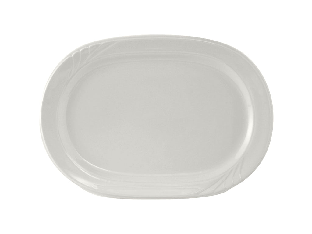 "Sonoma Platter 11-3/4"" - Porcelain White Embossed (Pack of 12)"
