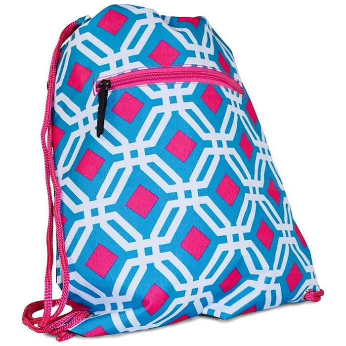 Geometric Drawstring Backpacks - Dallas Wholesalers