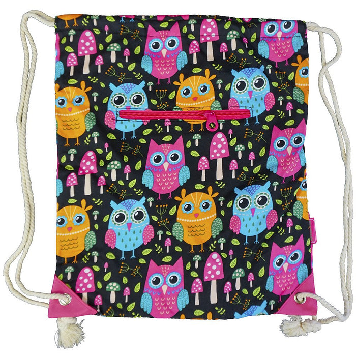 Owl Print Drawstring Backpack - Dallaswholesalers.net