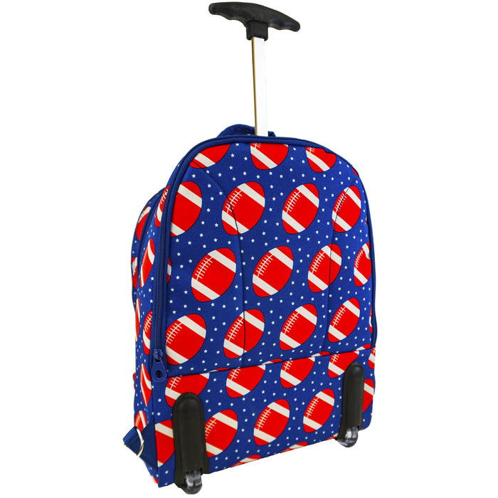 Football Rolling Laptop Backpack - Dallaswholesalers.net