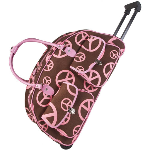Peace Sign Wheeled Duffle - Dallaswholesalers.net