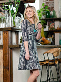 Cezanne Dress in Black Geo