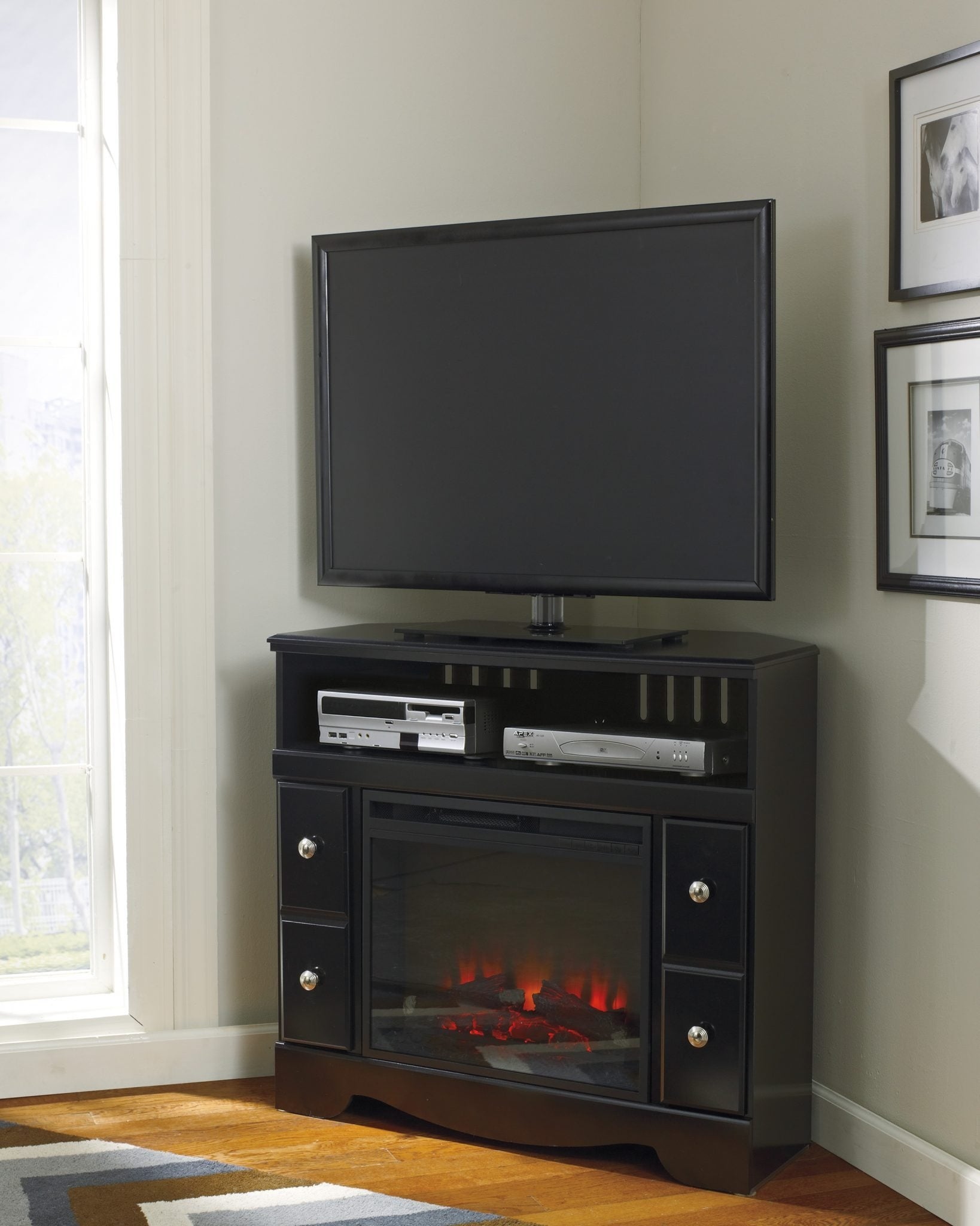 low priced 69b80 e17d1 Ashley W271 Shay Corner TV Stand w/ Fireplace Unit