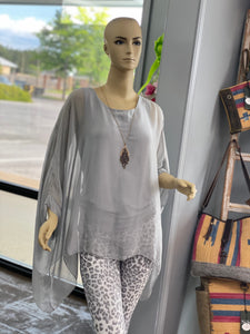 Silver Silk Poncho Top
