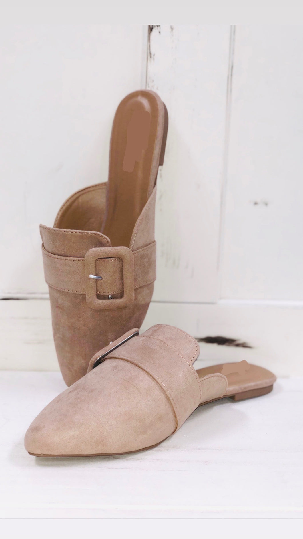Pointed Toe Taupe Mules