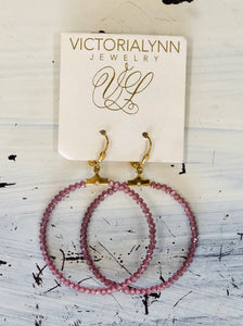 Victoria Lynn Wine Beaded Hoops