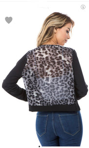Sheer Black and Leopard Cardigan