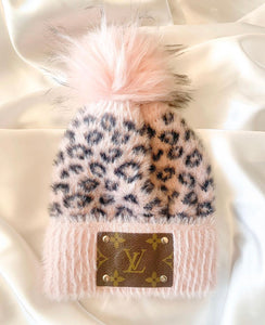Upcycled LV Pink Leopard CC Beanie