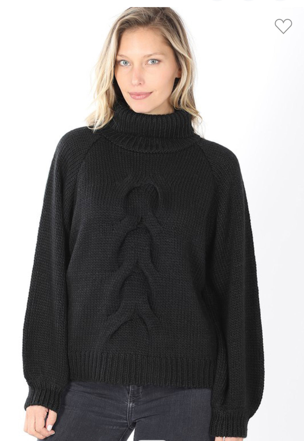 Black Chunky Cable Knit Turtleneck Sweater