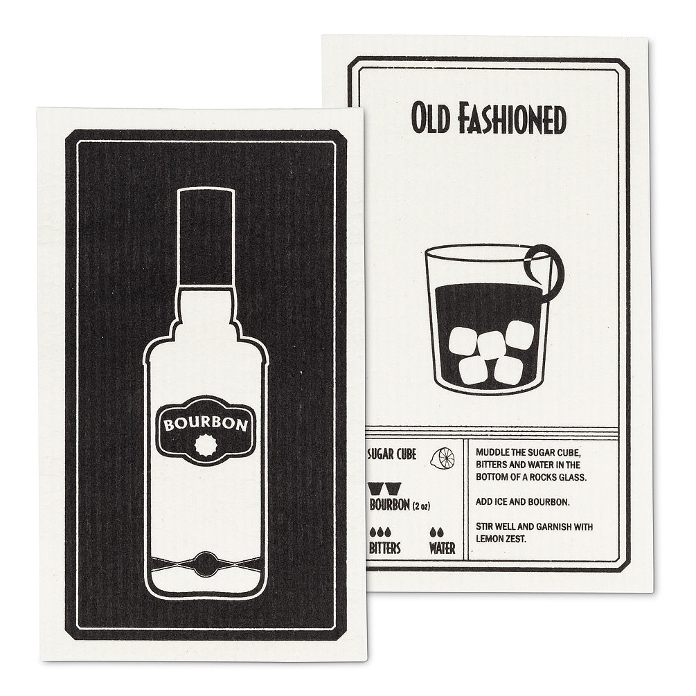 Bourbon & Old Fashioned Dishcloth, Set of 2
