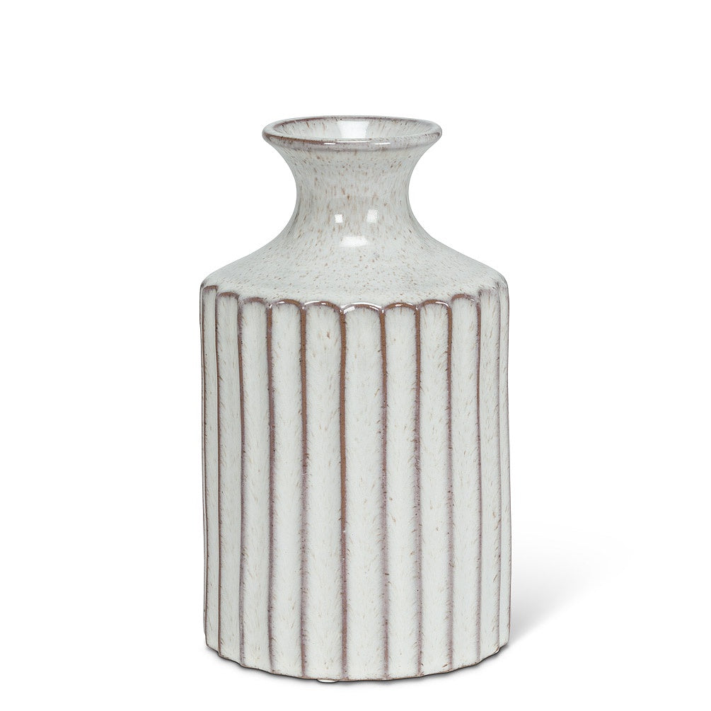 Ribbed Tall Neck Vase