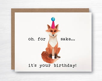 Birthday, For Fox Sake, card