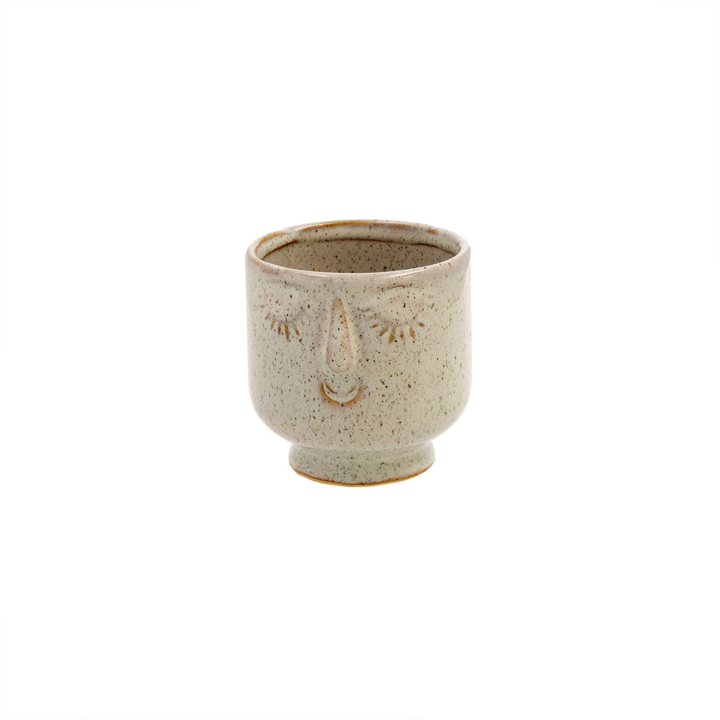 Friendly Face Pot, Small, Dune