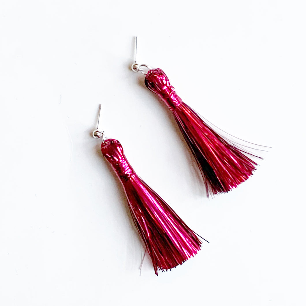 Festive Red Tinsel Tassels