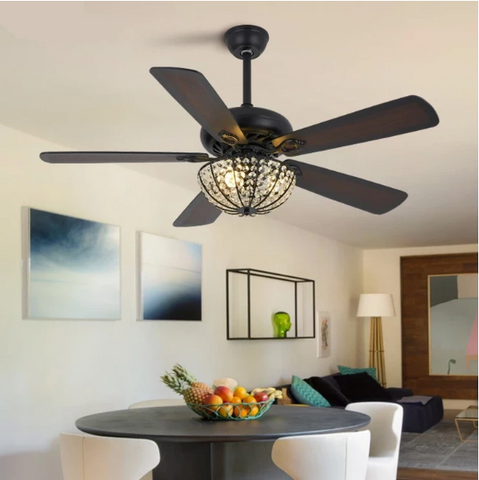 Modern Ceiling Decorative Fan with Crystal Lampshade