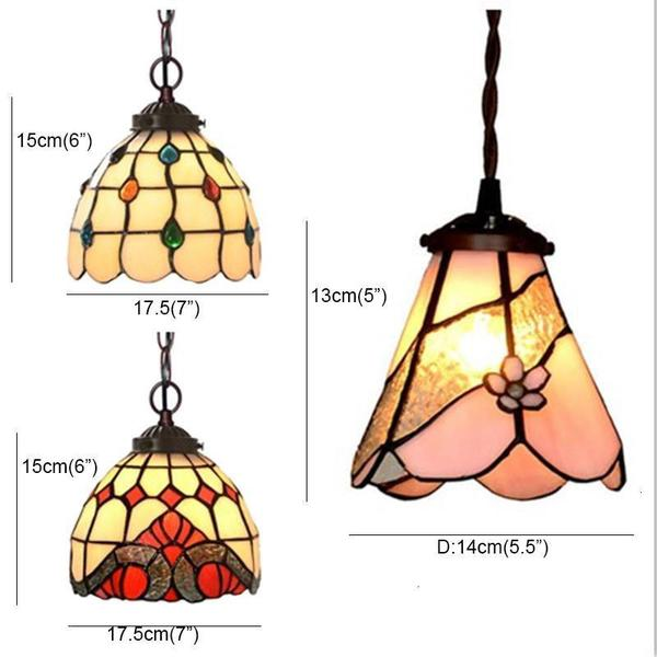 Stained colored Glass Shade Pendant Lamp