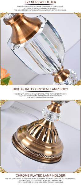 Crystal Glass Tall Table Lamp